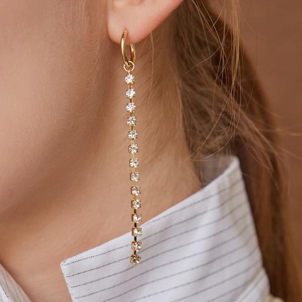 마티아스 Crystal line drop Earring