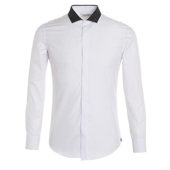 [LOUIS CLUB] 면 트윌 배색 와이드에리 셔츠 AJ3RB...
